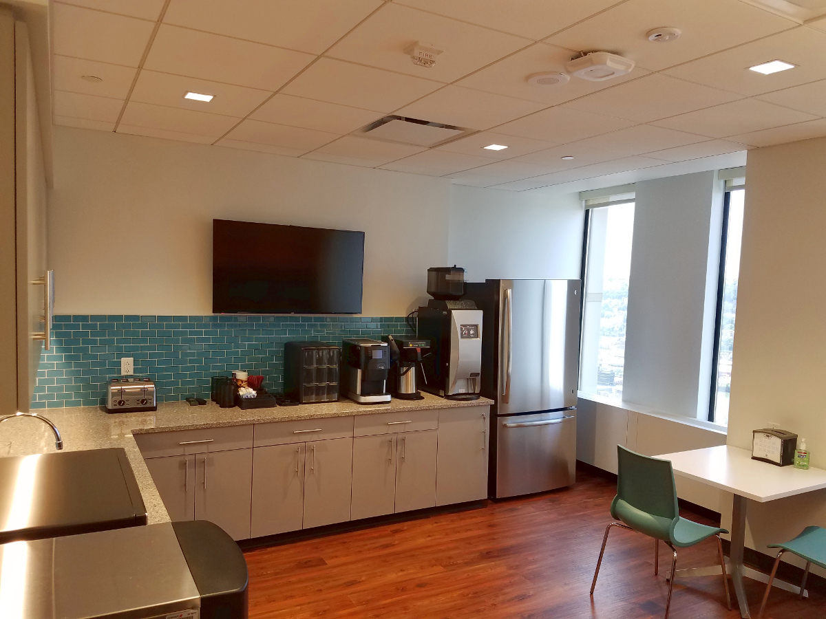 Kitchen, wood floors, blue wall detail
