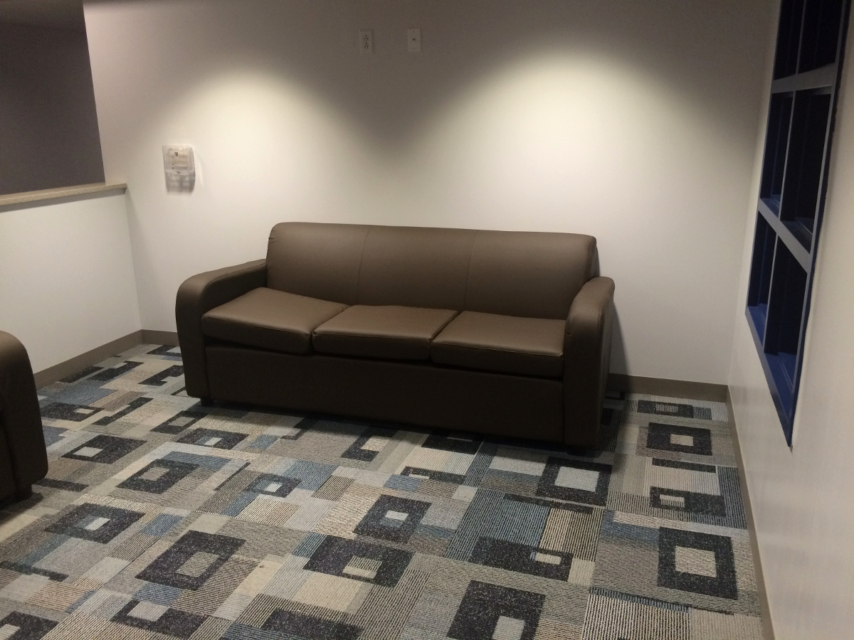 Small Lounge, Coush, Blue Carpet