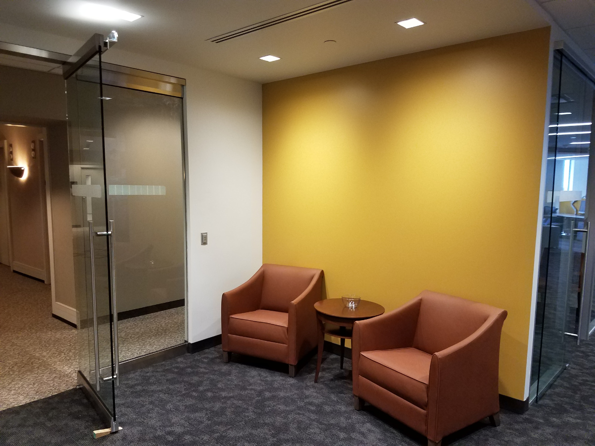 KPMG Entryway, two chairs, yellow walls