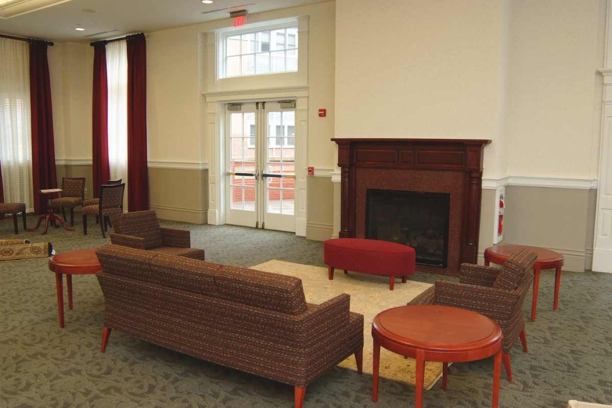 Small Meeting Area Fireplace Couches Tables