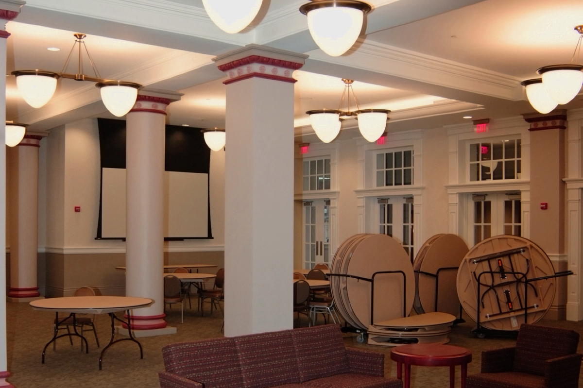 Pillars, Tables, Light Fixtures in new event space