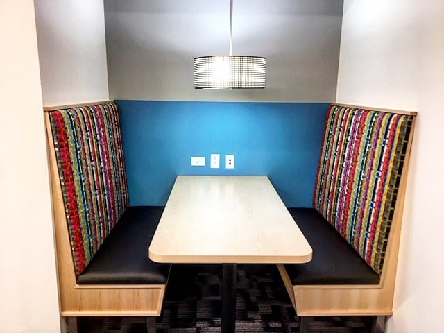 collaborative space, booth seating